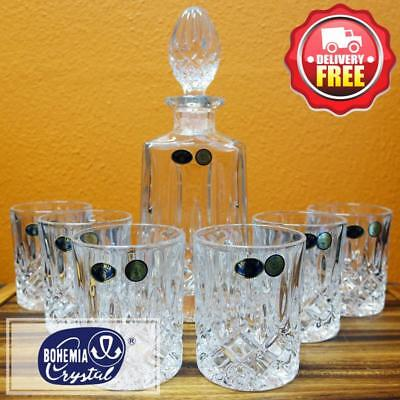 Bohemia Crystal (030 291)Sheffield 7pcs Whiskey Scotch Decanter Set Perfect Gift