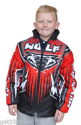 New Wulfsport Kids Red Jacket Motocross Trials Quad Atv Youth Child Boys Coat Pw