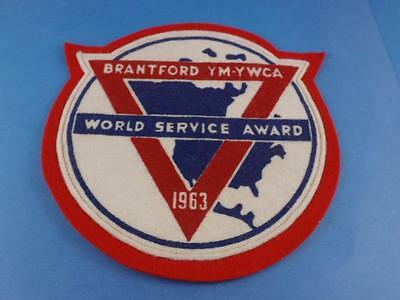 Ymca Ywca Brantford Canada  1963 World Service Award Large Award Patch