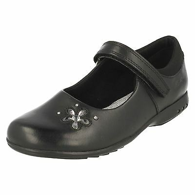 *SALE* Clarks 'Trixi Candy' Girls Black Leather Light Up School Shoes F Fit