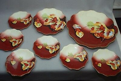 8 pc Antique B & H Limoges Handpainted & Artist Signed Dessert Plate Set Berries