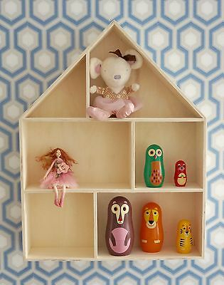 Large Wooden House Shelf Storage Decorative Children's Bedroom Decoupage