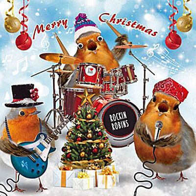 Rockin Robin's Drums Guitar Christmas Card 3D Goggly Moving Eyes Funny Xmas Card