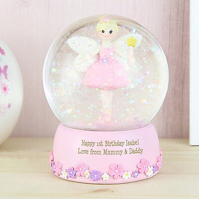 PERSONALISED Pink Fairy Snow Globe - Girls Gift  - Baby Christening or Birthday