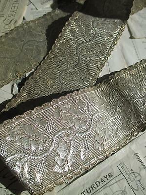 Antique Silver Metal Braid Passementerie- Oak Leaf & Acorn Design 113 cm/ 44.5''