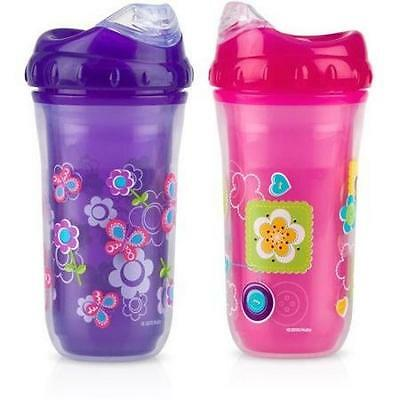 Nuby 2-Pack 9-oz Insulated Cool Sipper, Girl, BPA-Free, New, Free Shipping