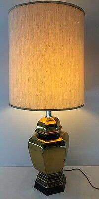 Mid Century Modern Solid Brass Table Lamp Tommi Parzinger Rare Hexagon