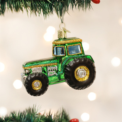 Old World Christmas Green Yellow Farm Tractor Ornament 46006