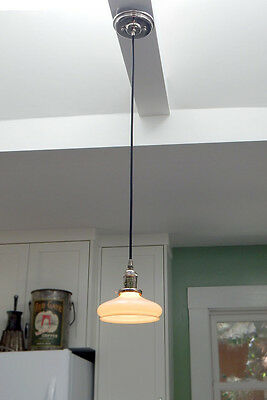Antique Vaseline / Uranium Glass Shade With New Nickel Pendant and Cloth Cord