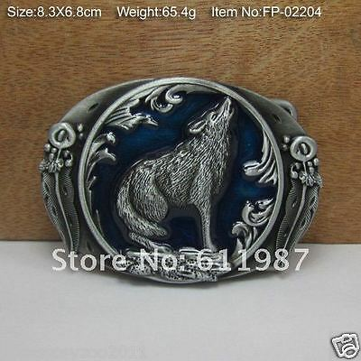 Belt Buckle-Metal- Howling Wolf/indian Feather-Cowboy/cowgirl-Western Rodeo-New