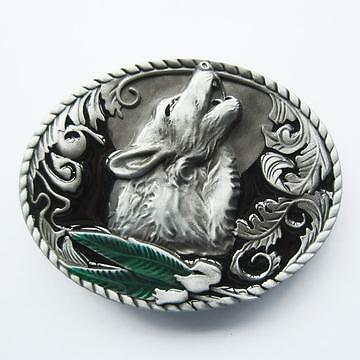 Belt Buckle-Metal- Western Howling Wolf -New