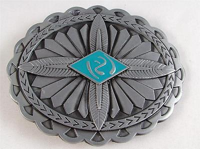 Belt Buckle-Metal-Cowboy/country & Western Aztec Design/oval -Turquoise/silver