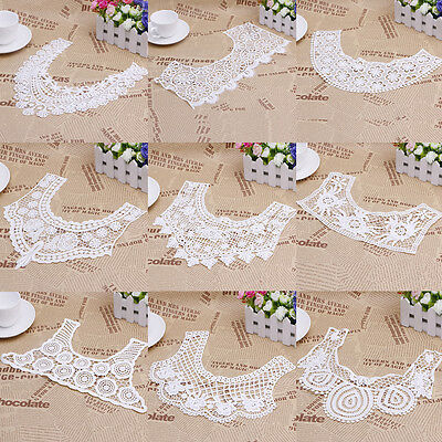 White Lace Embroidered Venise Floral Neckline Neck Collar Trim Sewing Applique