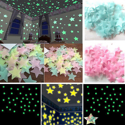 100PCS Star Wall Stickers Glow In The Dark Decal Baby Kids Room Bedroom Decor CA