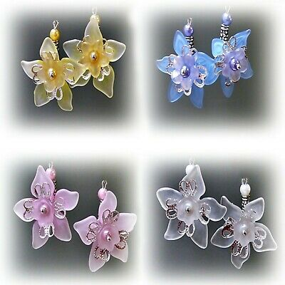 Earrings, lucite flower drop, clip on or pierced, yellow, white, blue, pink