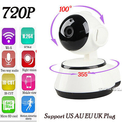 Wireless 720P Pan Tilt Network Home CCTV IP Camera WiFi Webcam  IR Night Vision