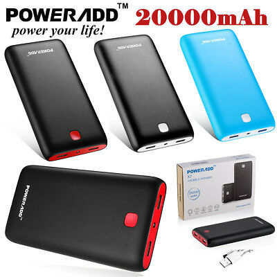 Poweradd 10000mAh Power Bank Dual USB External Battery Charger for Cell Phone