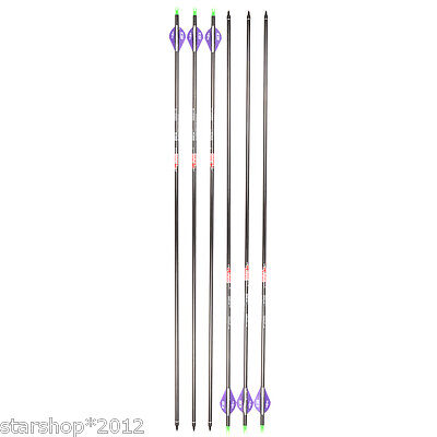 6pcs Archery 30.5''Carbon Arrows F Compoundbow Spine 340 Rated up to 70lb