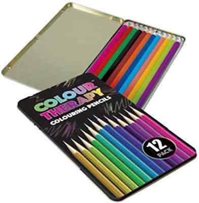 Colour Therapy Anti Stress Full Length Colouring Pencils in Tin Box - 12 Piece