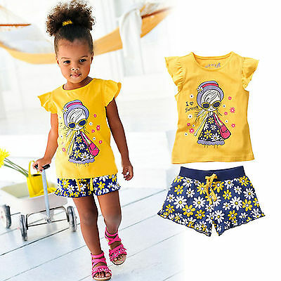 2Pcs Kids Baby Girls Outfits Cap Sleeve Top T-shirt Shorts Summer Clothes Set