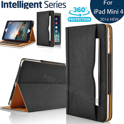 Magnetic Leather Smart Wake Case Cover for iPad Mini 4 Heavy Duty ,well designed