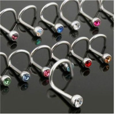 10Pcs Screw Nose Hoop Ring Studs Surgical Steel Rhinestone Body Piercing Jewelry