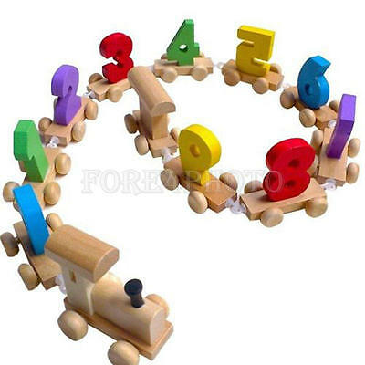 Funny Wooden Train Solid Wood Numbers Toddler Car Kid Baby Educational Toy Gift