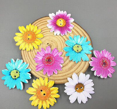 Flowers Buttons Wooden Sewing Scrapbooking decoration Mixed-color 2-Holes 37mm