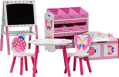 Table and chairs with chestbench shelf board - PAPILLON - Wooden Set Kid Toybox