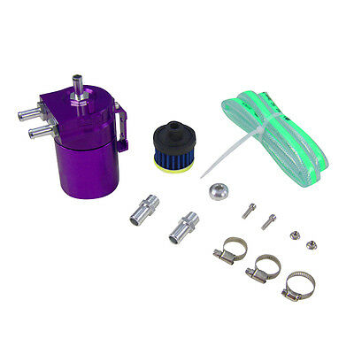 Universal Aluminium Baffled Oil Catch Tank Can Reservoir W/ Fittings Hose Purple
