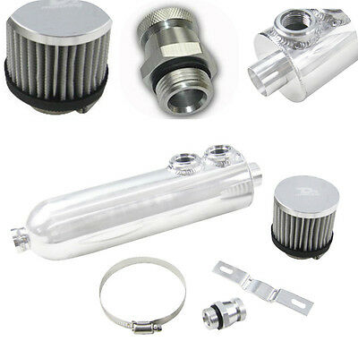 1.25L Polished OIL CATCH TANK + BREATHER 1250ml Aluminum Oil Catch Can + Filter