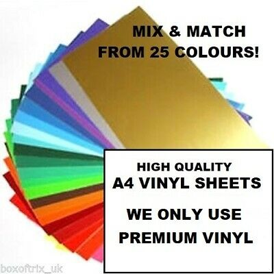 10X Gloss Self Adhesive Vinyl A4 SHEETS - CRAFT ROBO / SILHOUETTE CAMEO