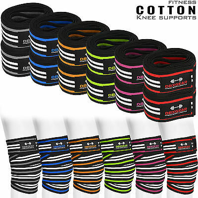 2x Weight Lifting Cotton Knee Support Band Elasticated Gym Wraps Workout PAIR