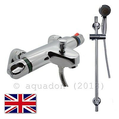 Bathroom Thermostatic Chrome Deck Mounted Shower Valve Mixer Tap Rail Kit