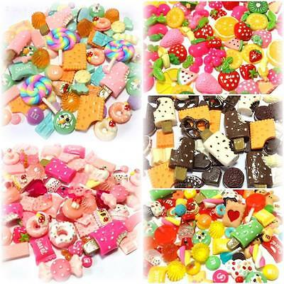 Mixed Flatback Resin / Clay Fake Sweet Candy Fruit Chocolate Cabochons Decoden