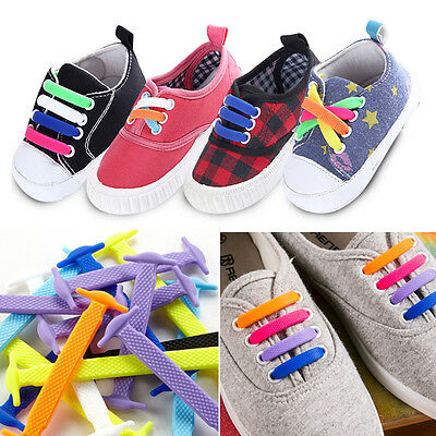 1 Set(12pcs) Kids No Tie Shoelaces Elastic Silicone Canvas Sneakers Shoe Lace