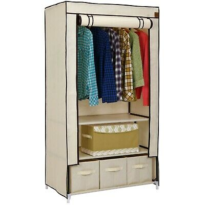 VonHaus Beige Canvas Effect Wardrobe Strong Clothes Rail Shelves Storage Drawer
