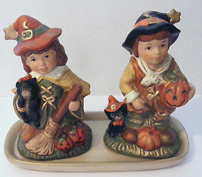 Awesome Salt And Pepper Shakers Halloween Theme Boy And Girl Pumpkin & Black Cat