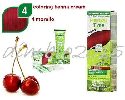 MORELLO HERBAL TIME 100% NATURAL COLORING HENNA CREAM DYE  Ready for use