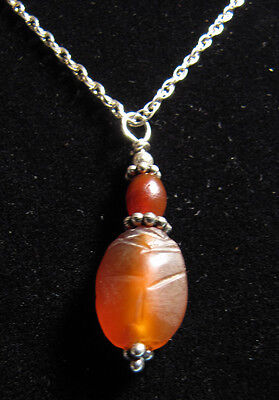 Egyptian Carnelian Scarab Necklace  - Ancient Art & Antiquities