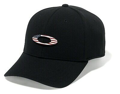 OAKLEY Tincan Black USA American Flag Ellipse Logo Stretch Fit Cap