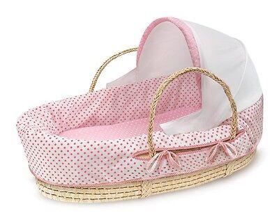 Baby Infant Natural Moses Basket w/Fabric Canopy & Pink Polka Dot Bedding NEW