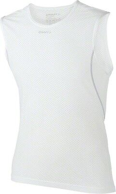 Craft Cool Mesh Super Light Sleeveless Mens Base Layer Top: White XXL