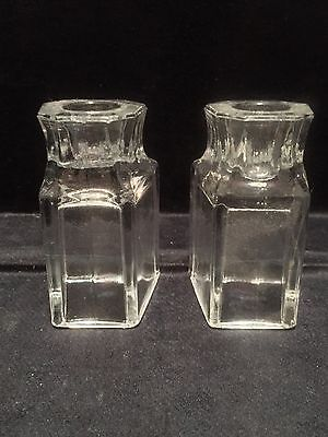 "Vintage Pair Clear Glass Candlestick Holders - 3 1/2"" Tall- Heavy -See Pics"