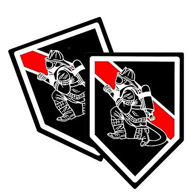 Thin Red Line Firefighter Fireman Decals Pack Of Two