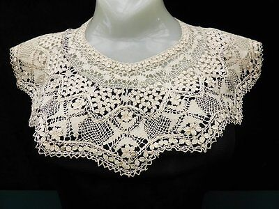 2 Antique Hand Crafted Maltese Silk Lace Collars