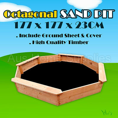 Octagonal Sandpit Kids Children Play Toy Wooden Timber Sand Box Pit Boat Fun MEL