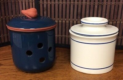 Butter Bell and Garlic Keeper pottery blue white clay R16