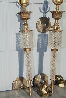 VTG Pair Crystal Pillar Hollywood Regency Glam Wall Sconces AS IS *READ* Free Sh