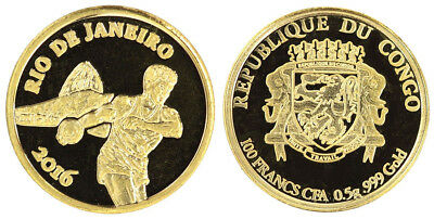 Congo 100 Francs, 0.5 g Gold Proof Coin, 11mm, 2016, Mint,Rio de Janeiro,Olympic